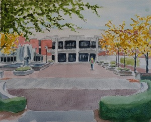 Watercolor painting MU student union and fountain
